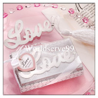 Wholesale Ribbon Metal Love Words Bookmark Wedding Favors Party Event Gifts Tassel Book Marks