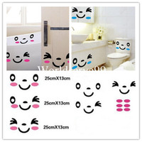 Wholesale Cute Smile Face Closestool Sticker Toilet Bathroom Decor Mural Art Wall Sticker Decal Set