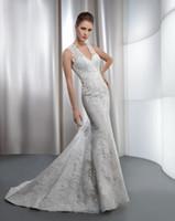 Cheap Trumpet/Mermaid mermaid wedding dress Best Model Pictures V-Neck v neck bridal dress