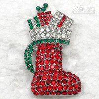 Wholesale C677 MULTICOLOUR CRYSTAL CHRISTMAS BOOT STOCKING PIN BROOCH FASHION COSTUME BROOCHES JEWELRY GIFT