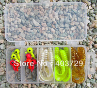 Soft Baits Yes Artificial Bait Free shipping 10pcs Jig head fihing hook+20pcs soft fishing lure+1pc Plastic fishing tackle box good quality