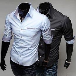 Wholesale Mens casual slim fit dress shirts Men s Three Quarter Sleeve Shirt