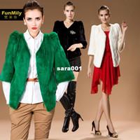 Coats green white jade - Tantalising jade green V neck mink outerwear fur coat white