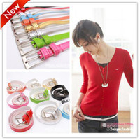 Wholesale 2013 New Cute Cross Buckle Women Candy Color Thin Skinny Faux Leather Hot Belt
