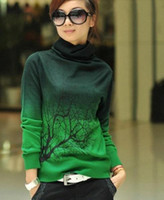 sweater - New women cashmere sweater turtleneck branch print Gradient Color design pullover sweater large size S XXXL bnv