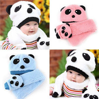 Wholesale New Toddler Infant Boy Girl Baby Kid Xmas Warm Panda Head Cap Beanie Scarf hat