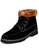 Wholesale Fur Color Block Cowhide Round Toe Amazing Boots for Man u9 DWl