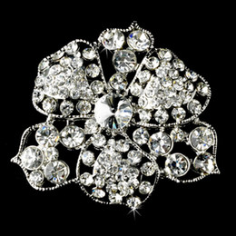 White Gold CZ Crystal Flower Wedding Pin Brooches Party Gift