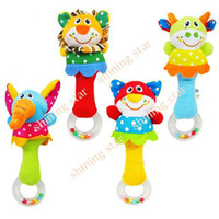 Wholesale Cute Baby educational Developmental Toy Hand bell Animal Model Long Handbell plush Toy