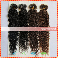 Wholesale quot Curly Fusion Hair Extensions U Tip dark colors g s deep wave Remy Hair Extension Keratin Human ChinaPost