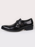 Wholesale Smart Black Pointed Toe Buckle Cowhide Dress Shoes For Men r25 u10 m6w