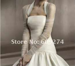 Wholesale Hot Custom Long Sleeves Tulle Ruffle White Ivory Bridal Wraps Jackets Wedding Boleros Shawls