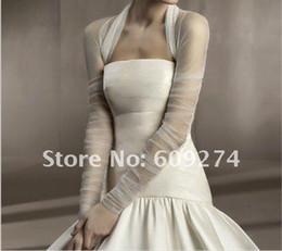 Wholesale Hot Custom Made Long Sleeves Tulle Ruffle White Ivory Bridal Wraps Jackets Wedding Boleros Shawls