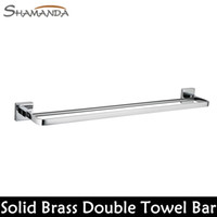 Wholesale Bathroom Accessories Solid Brass Chrome Finished Double Towel Bar Bathroom Proudcts Towerl Holder Towel Rack