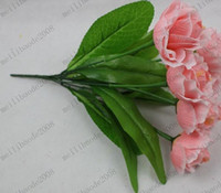 Wholesale 35cm quot Length Artificial Simulation Silk Rose Bush Seven Flower Heads Home Decoration MYY7358