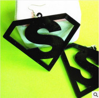 Wholesale Classic fashion creative new Superman logo Earrings acrylic color mixing geometric Earrings
