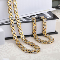 Wholesale Mens Gold Bracelet Gold Plated Stainless Steel Chain Necklace Unisex Fashion Jewelry Set F5601