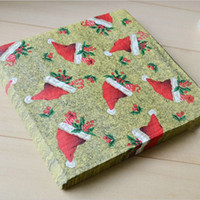 Wholesale 33 cm Creative Color Printing Paper Napkin Serviettes Christmas Party Favors SD142