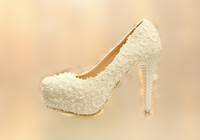 Wholesale White Bride Wedding Dress Shoes CM High Heels Lace Flower Pearl Princess Ball Gown Party Shoes Hollow Floral Beads Evening Prom Wear D1024