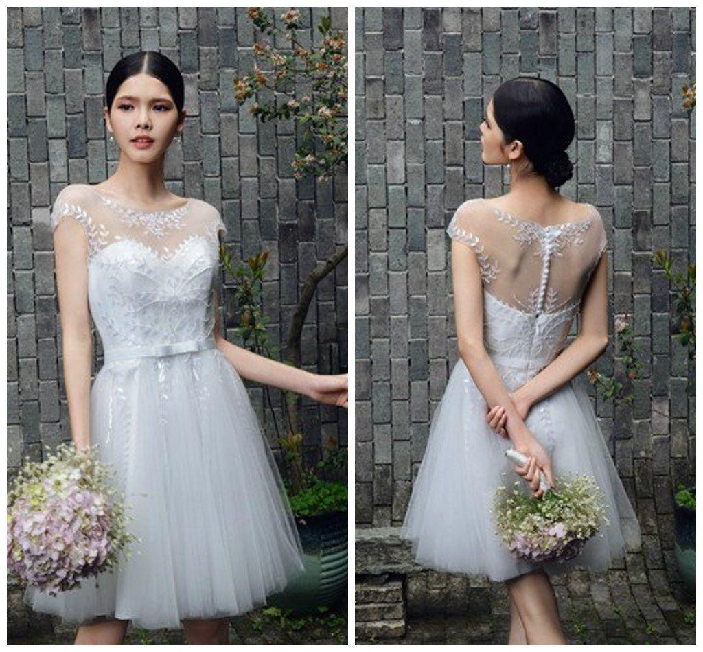 Discount 2014 Outdoor Destination Wedding Dress Short