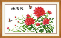 Wholesale Fabric butterflies hydrotropic print cross stitch kit butterfly flower traditional chinese painting