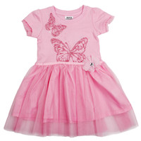 Wholesale H3955 Nova new arrvial y y sweet baby girl pink dress butterfly embroidery sequin lace cupcake dress cute princess dress kids party dress