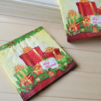 Wholesale 33 cm Beautiful Christmas Paper Napkin Throwaway Tissue Dinner Set Party Supplies SD143