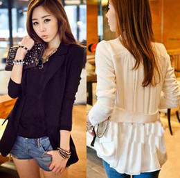 Hot Fashion Women's Chiffon Splicing Coats One Button Long Sleeve Blazer Suit Outwear OL Style Leisure Coat White Black