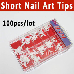 Wholesale 100pcs Short Acrylic French Nail Art Tips white nail tips
