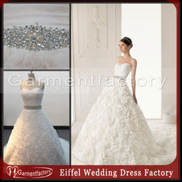 Wholesale Real Sample Wedding Dress Sweetheart Neckline Ball Gown Chapel Train with Belts Rhinestones Buy Get Set of Necklace and Earring