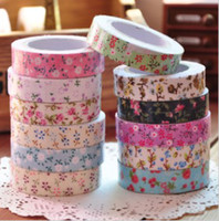 Wholesale DIY office adhesive japan printed fabric tape Washi Paper Masking Tape dots floral check tape DIY Decor Tapes