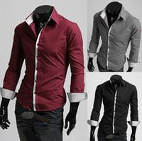 casual shirts for men - NEW Men s casual Slim long Sleeve Shirts Men s Stripe Mosaic shirts Dress Shirts For Men Business Shirts