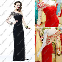 Wholesale 2014 Hot Sale A line Evening Dress Black Red Chiffon See Through One Shoulder Long Sleeve Beaded Rhinestones Cheap Formal Dresses