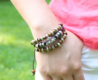 Charm Bracelets Unisex  Free Shipping Leather Wrap Bracelets With Wooden Beads Adjustable Vintage Bracelets Retro Bangles Cow Leather Brown