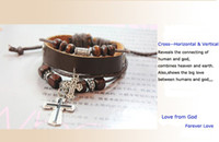 Charm Bracelets Unisex  Free Shipping Leather Wrap Bracelets With Alloy Cross Pendant Wooden Beads Vintage Bracelets Retro Bangles Cow Leather Brown