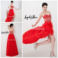 Wholesale 2014 Chinese Red Sexy Sweetheart Short front long back Brush Feather Bandage back Prom gowns Cocktail gowns applique lace pageant dress