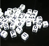 Wholesale 2900pcs mm White Acrylic Loose Beads Cube Capital Alphabet Letters Spacer Beads Jewelry Making A J Pick