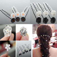 Hairpins White romantic  Wholesale 240PS Wedding Bridal Flower Crystal Hair Pins Clips Bridesmaid 6Styles Mixed Hair Accessories [JH03006(20)-JH03011(20)]