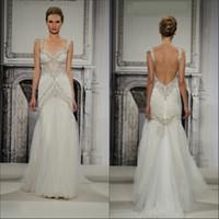 Wholesale 2014 PninaTornai Fashion Sexy Backless Mermaid Indian Style Organza Crystal Beaded Lace Wedding Dress BRI
