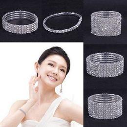 Wholesale 10PCS Rows Rhinestone Austria CZ Bracelets Crystal Wedding Bride Stretchy Bangle Wristband Jewelry Bracelet ZAU
