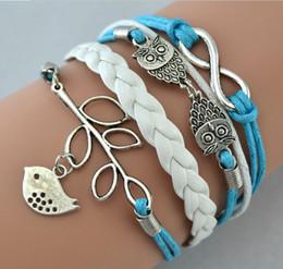 Wholesale Infinite Cross bracelets anchor Love Tree Bicycle Birds Owl leather weave bracelet JZ a variety of styles Choose