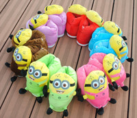 Wholesale Free EMS Newest Fashion Slippers Winter Women D Despicable Me Minion Stewart Figure Soft Plush Slipper Shoes L426