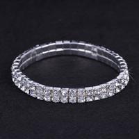 Wholesale 10pcs Rows Wedding Rhinestone Austria CZ Bracelet New Crystal Bride Stretchy Bangle Wristband Fashion Bracelet ZAU2