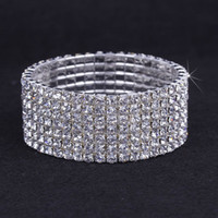 Wedding Bracelets Silver Plate/Fill Rhinestone 10pcs 7 Rows Hot Sale! Austria CZ Rhinestone Bracelet Crystal Elastic Bangle Wristband Bracelet For Wedding Party Dress ZAU7*10