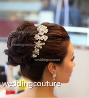 Comb Silk Flower  Free Shipping Crystal Rhinestone Floral with Comb Wedding Bridal Prom Party Hair Comb Hair Accessory