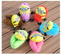 Wholesale Free EMS Novelty Despicable Me Minions Plush Stuffed Slippers Adult Home House Indoor Warm Cartoon Slipper Toys L426