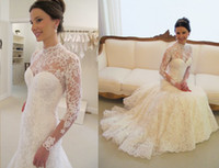 Wholesale High Neck Wedding Dresses New Sexy With Long Sleeves Lace Church Vintage Lace Ruffles Open Back Backless Long Bridal Dress Ball Gowns