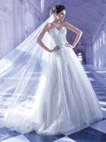 A-Line Reference Images Sweetheart Demetrios 2014 Wedding Dresses 558 Sweetheart White Tulle Beaded Crystal A Line Bodice Bridal Gowns Brush Train Sleeveless Ruffled Lace Up