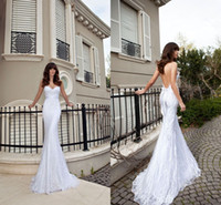 Wholesale 2014 Vintage Sheer Backless Sexy Beach Wedding Dresses Mermaid Spaghetti White Elegant Lace Appliques Ruched Ribbon Sweep Train Bridal Gowns