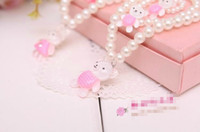Wholesale Super Cute Children Girls Jewelry Set Simulated pearl Necklace Ring Bracelet One Set Pink Bear Or Rabbit Packing